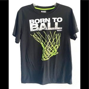 AND1 BORN TO BALL Youths black/green tee-shirt